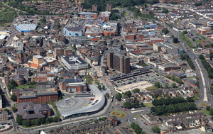 Hanley town centre Stoke-on-Trent from the air