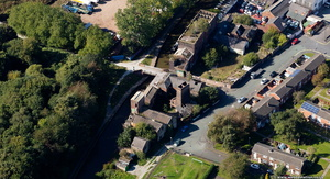 derelict and abandoned Middleport Mill, Stoke-on-Trent from the air