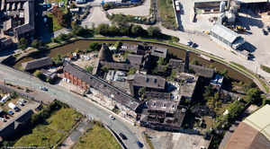 Derilict and abandoned Price and Kensington Teapot Works , Longport, Stoke-On-Trent, from the air