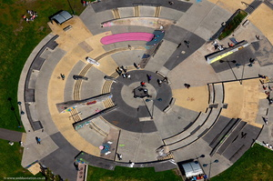 Stoke Plaza, Skateboard plaza Central forest ParkStoke-on-Trent Staffordshire aerial photograph