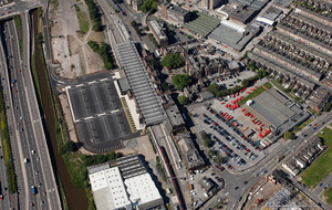Stoke Railway Station Stoke-on-Trent Staffordshire aerial photograph