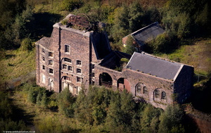 derelict pit head winding gear at , Chatterley Whitfield Colliery,Chell  Stoke-on-Trent  Staffordshire from the air