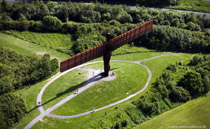 Angel of the North Gateshead Tyne and Wear aerial photograph