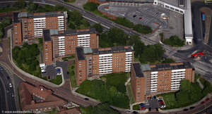 The Barn Close flats  Gateshead from the air