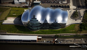 the Sage Building in Gateshead from the air