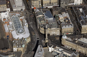 Newcastle city centre around Blackett Street and Grey's Memorial aerial photo