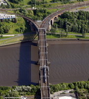 King Edward VII railway bridge over the River Tyne Newcastle  from the air