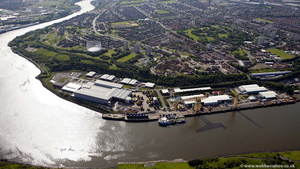 former Walker Naval Dockyard in Newcastle  from the air
