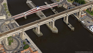 The High Level Bridge Newcastle upon Tyne  from the air