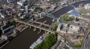 River Tyne at Newcastle upon Tyne   aerial photo