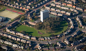 The Spinney tower block, High Heaton. Newcastle  from the air