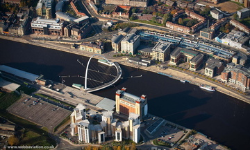 Gateshead Millennium Bridge Newcastle upon TyneTyne and Wear aerial photograph