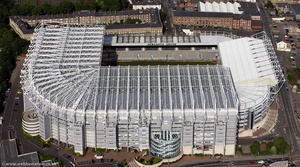 St James' Park football stadium Newcastle upon Tyne, England UK  home of Newcastle United F.C. aerial photograph