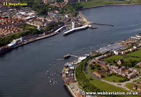 Fish Quay North Shields North Tyneside Tyne and Wear aerial photograph