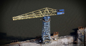 giant dock crane at  Swan Hunters Shipyard from the air