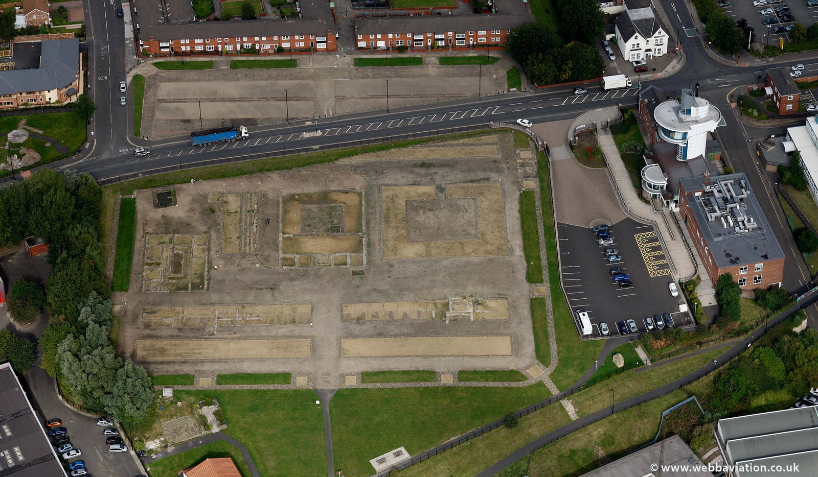 Segedunum Roman fort Wallsend from the air