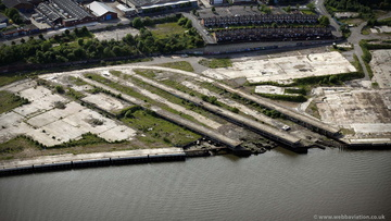 slipways at former A&P shipyard Wallsend  Tyneside from the air