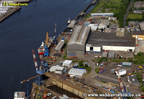 Cammell Laird yard Hebburn South Shields Tyne and Wear aerial photograph