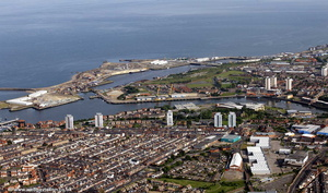 River Wear and Docks in Sunderland aerial photograph