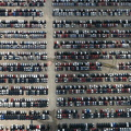 new cars awaiting delivery at the Nissan car plant in  Sunderland  aerial photograph