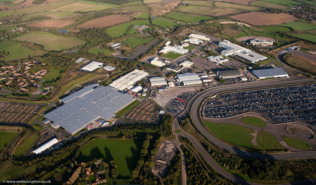 Aston Martin Factory Gaydon and Jaguar Land Rover Gaydon Centre from the air
