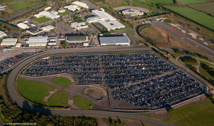 unsold Land Rovers at the Jaguar Land Rover Gaydon Centre  from the air