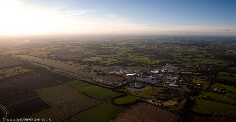 motor industry test track at  former RAF Gaydon at sunset  from the air