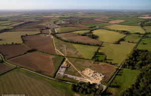 construction of the HS2 rail link through the Warwickshire countryside  from the air