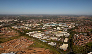 Heathcote Industrial Estate Leamington Spa from the air