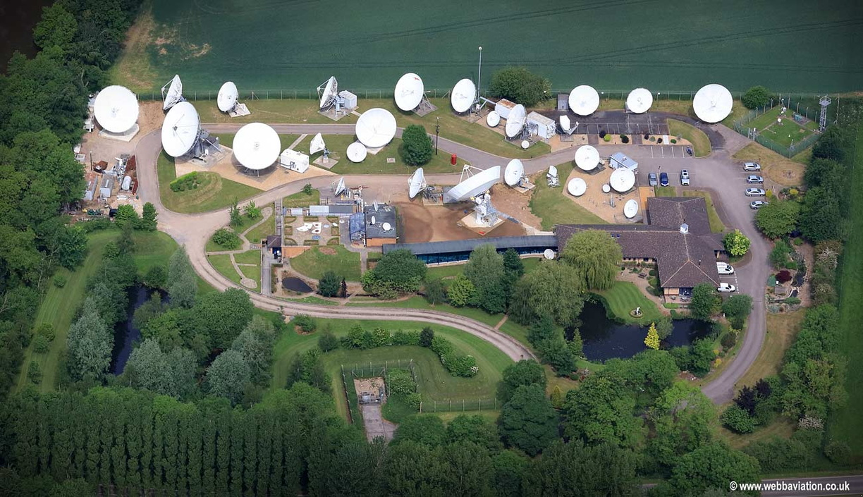 Satellite Communications centre Lawton Heath Rugby aerial photograph