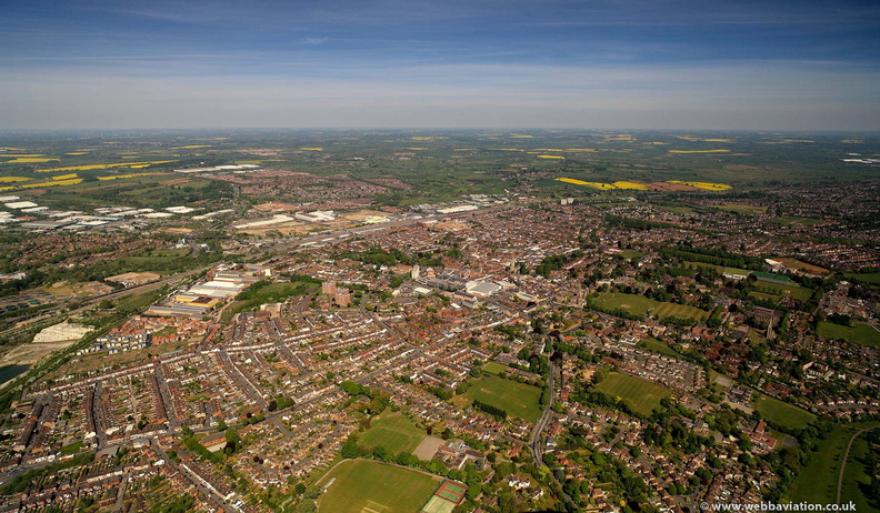 Rugby Warwickshire  from the air