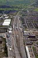 Rugby railway station  Warwickshire  from the air