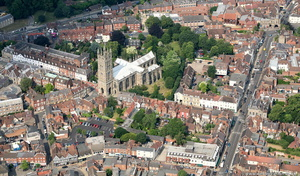 St Mary's Church  Warwick from the air