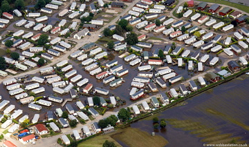 Abbots Salford Holiday Park Warwickshire  during the great  floods of 2007 from the air