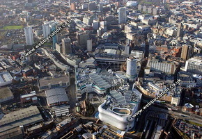 the Bullring  shopping centre Birmingham West Midlands aerial photograph