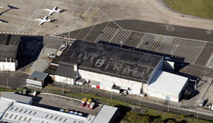 old Birmingham Airport terminal and control tower at Birmingham airport from the air