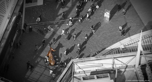 shoppers at the Bullring shopping centre Birmingham from the air