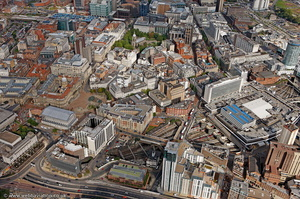 Birmingham city centre wide angle view from the air