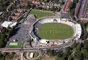 Edgbaston Cricket Ground of Birmingham, England UK,  home to Warwickshire County Cricket Club,aerial photograph
