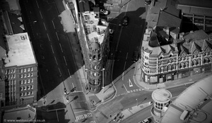 Birmingham's Flatiron Building from the air