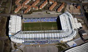 St Andrew's football stadium Birmingham, home of Birmingham City Football Club from the air