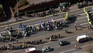 St Patrick's Day parade Birmingham from the air