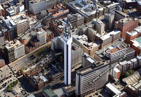BT Tower  Birmingham West Midlands aerial photograph