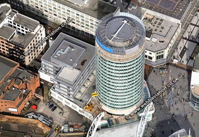 the Bullring Rotunda Birmingham West Midlands aerial photograph
