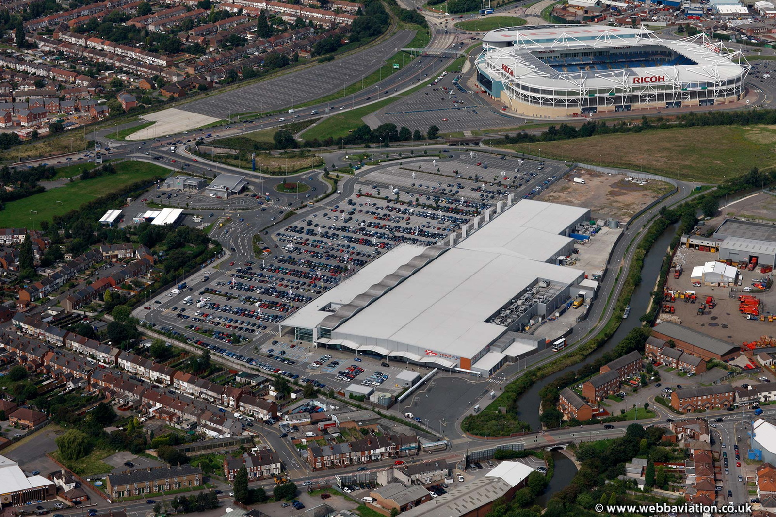 Arena Park Shopping Centre Coventry from the air