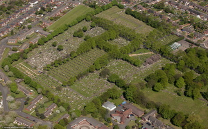 Heath Lane Cemetery  West Bromwich from the air