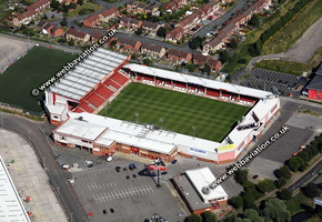 Bescot Stadium, aka the Banks's Stadium football stadium  Walsall aerial photograph