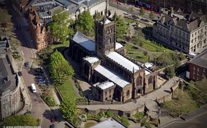 St Peter's Church, Wolverhampton city Centre from the air