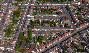 terraced houses in Wolverhampton  from the air