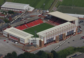 Oakwell stadium  Barnsley, South Yorkshire, England UK home of Barnsley Football Club  aerial photograph